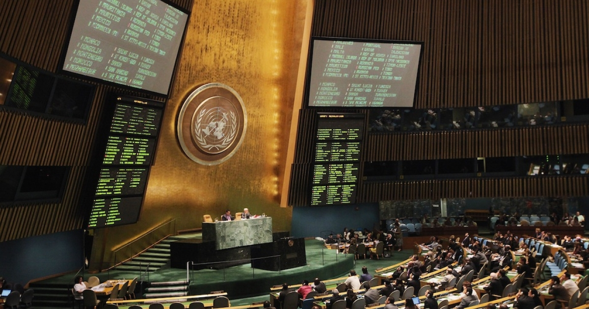 The United Nations General Assembly votes on a resolution on Syria at the UN headquarters in New York City on August 3, 2012.</p>