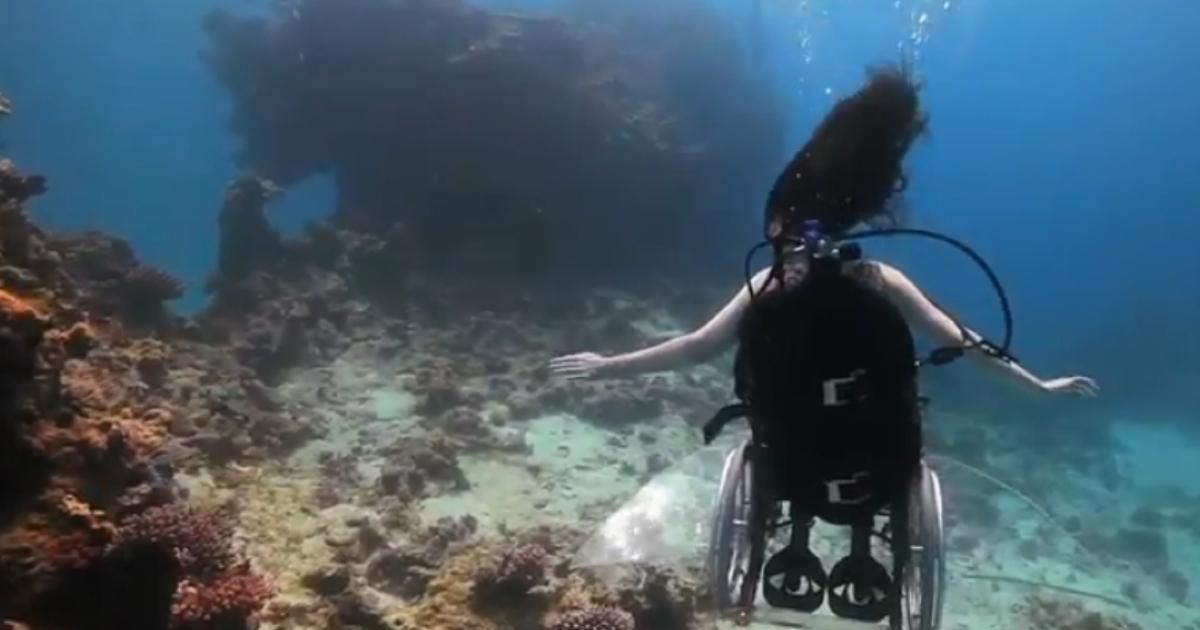 British artist Sue Austin has created an underwater wheelchair propelled by jets.</p>
