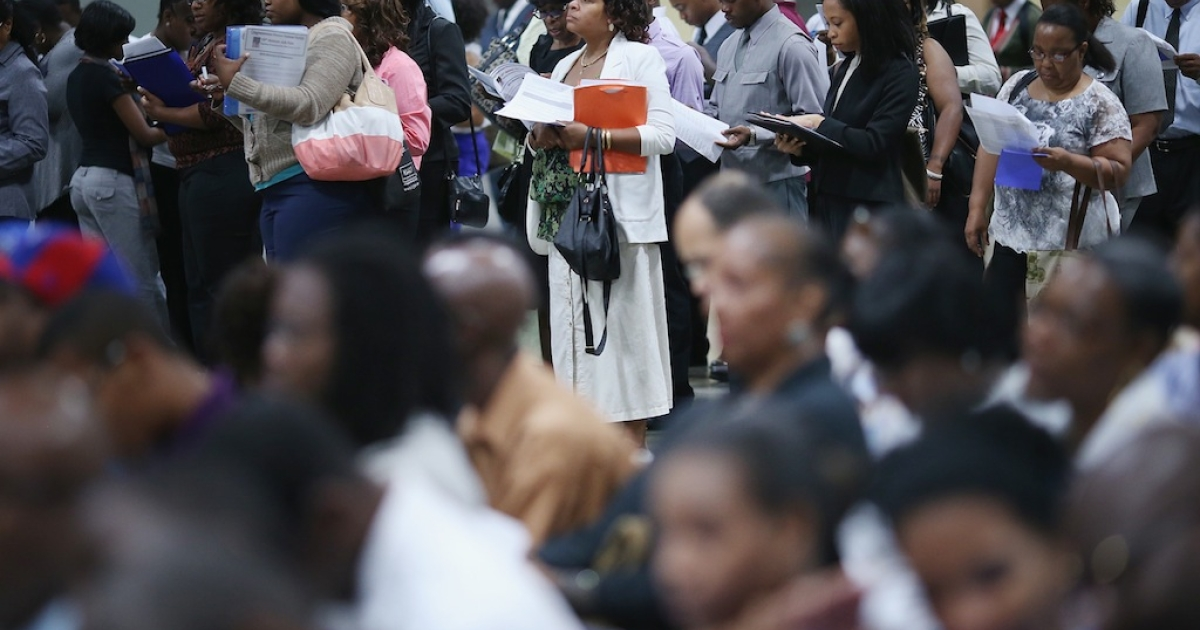 Unemployed workers attend a job fair at the Washington Convention Center Aug. 23, 2012, in Washington, DC. The US added a disappointing 96,000 nonfarm jobs in August, and the unemployment rate fell to 8.1 percent from July's 8.3 percent.</p>