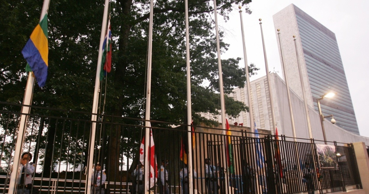 Flags are raised outside the United Nations before the start of the UN General Assembly in New York.</p>