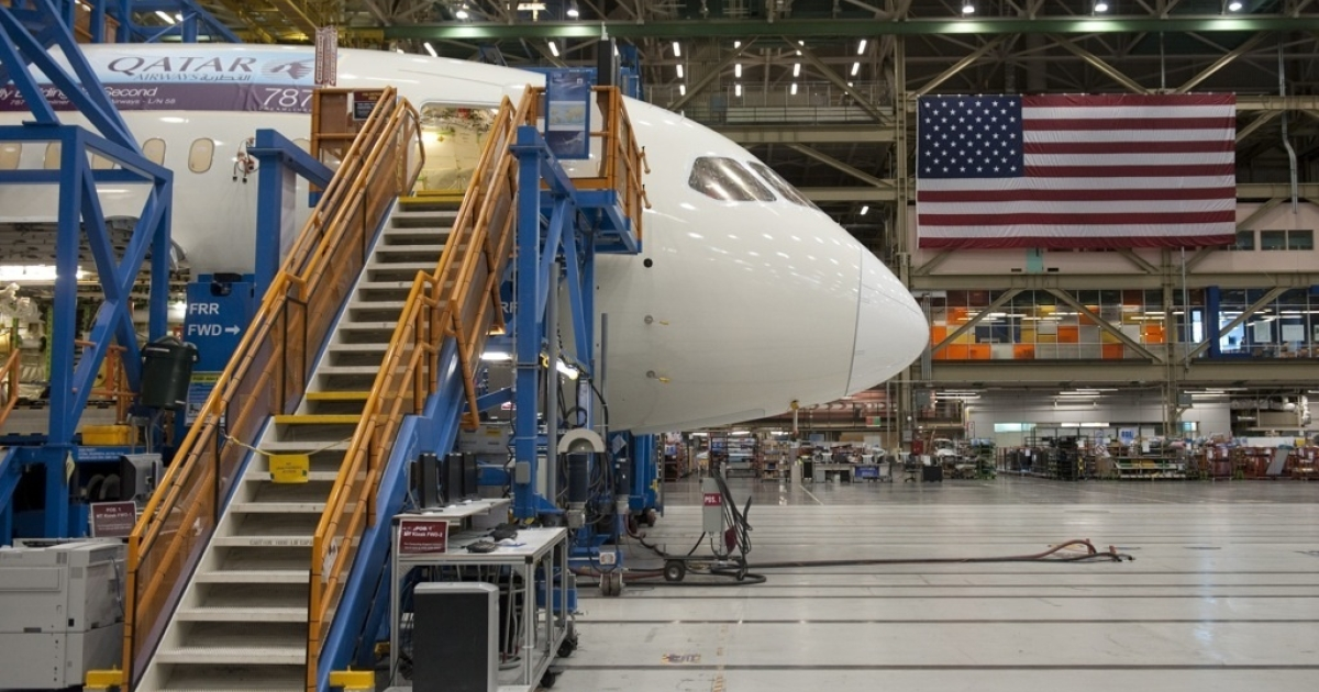 A Boeing 787 Dreamliner aircraft sits under construction at the Boeing production facilities and factory at Paine Field in Everett, Washington where the effects of the euro economic crisis are expected to be felt.</p>