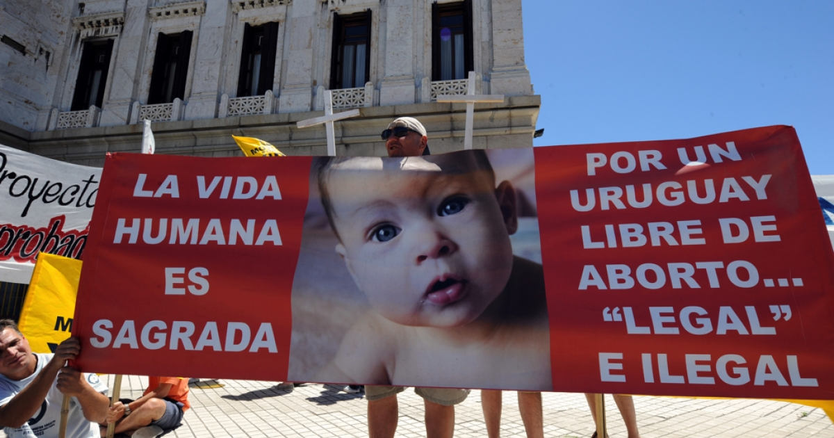 Anti-abortion activists protest outside the Uruguayan Congress building in Montevideo on Dec. 27, 2011.</p>