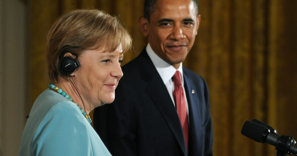 U.S. President Barack Obama speaks alongside German Chancellor Angela Merkel during a joint press conference in the East Room of the White House in Washington, D.C. on June 7, 2011.</p>