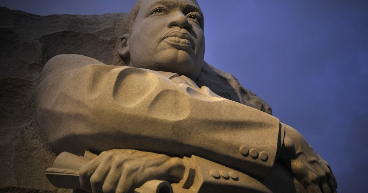 The sculpture of Martin Luther King seen on August, 26, 20011 in Washington DC. The long-awaited dedication of a US national memorial to slain civil rights icon Martin Luther King scheduled for this weekend.</p>