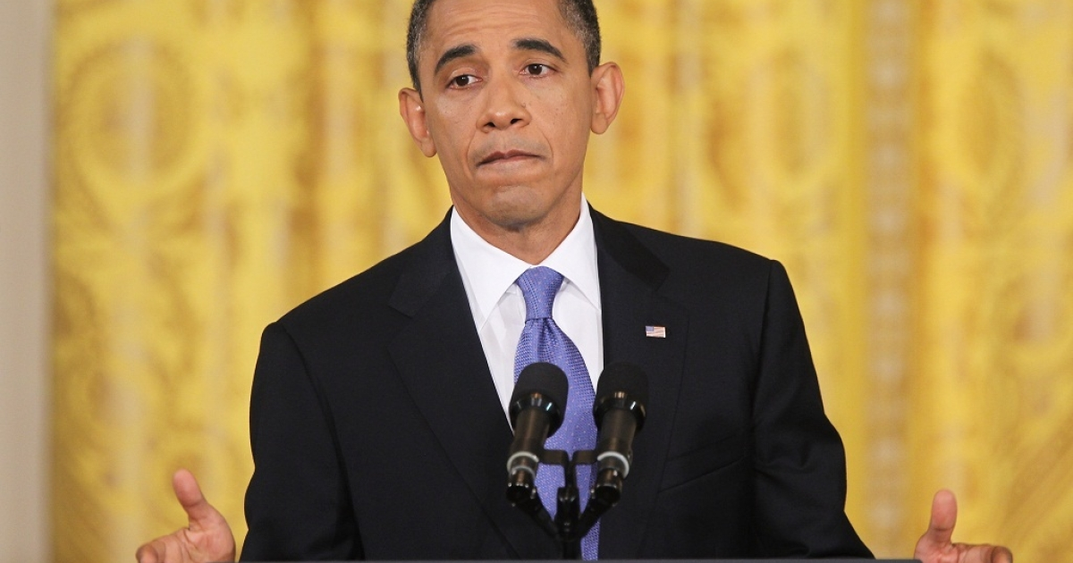 U.S. President Barack Obama speaks during a news conference in the East Room of the White House October 6, 2011 in Washington, DC. Obama spoke about the $447 billion jobs bill he has sent to Congress.</p>