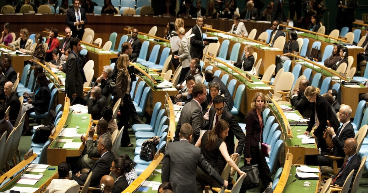 Delegates walk out as Mahmoud Ahmadinejad, President of the Republic of Iran, addresses the General Debate of the 66th General Assembly session September 22, 2011 at the United Nations in New York. The United States on Thursday led a mass walkout of the UN General Assembly by western nations during a speech by Iran's President Mahmoud Ahmadinejad. The Iranian leader strongly attacked the US role in wars and the financial crisis and called on major powers to pay reparations for slavery.</p>