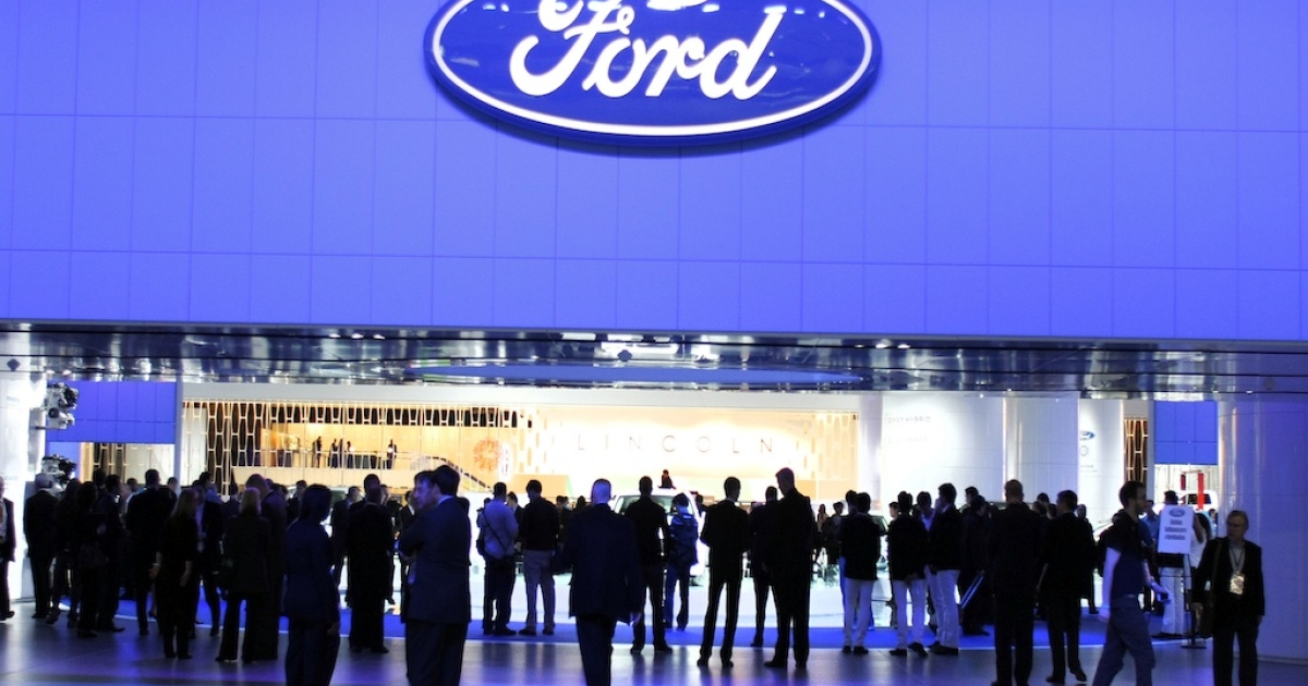 The Ford exhibit is shown during the 2012 North American International Auto Show January 9, 2012 in Detroit, Michigan. The NAIAS opens to the public January 14th and continues through January 22nd.</p>