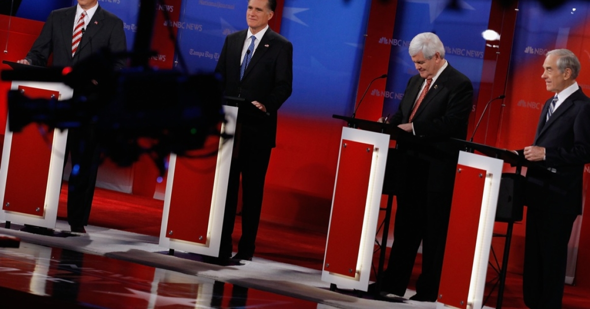The Republican primaries show a chaotic mix of attitudes toward US foreign policy. Here Republican presidential candidates, former U.S. Sen. Rick Santorum, former Massachusetts Gov. Mitt Romney, former Speaker of the House Newt Gingrich (R-GA) and U.S. Rep. Ron Paul (R-TX) are seen during the NBC News, National Journal, Tampa Bay Times debate held at the University of South Florida on January 23, 2012 in Tampa, Florida.</p>