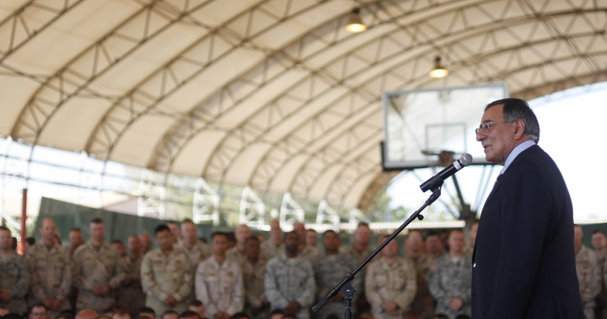 A US military plane crashed in Djibouti as it was returning to Camp Lemonnier, the only US military base in Africa. Here, US Secretary of Defense Leon Panetta speaks to military personnel during his visit to Camp Lemonnier in Djibouti on December 13, 2011. Panetta spoke with President Ismael Omar Guelleh for talks on counter-terrorism measures.</p>