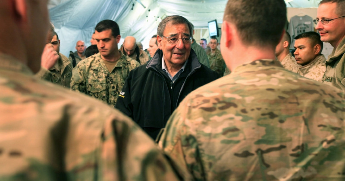 U.S. Secretary of Defense Leon Panetta greets troops passing through the Transit Center at Manas on March 14, 2012 near Bishkek, Kyrgyzstan. Panetta is slated to visit India next month, amid heightened tensions between the US and Pakistan.</p>