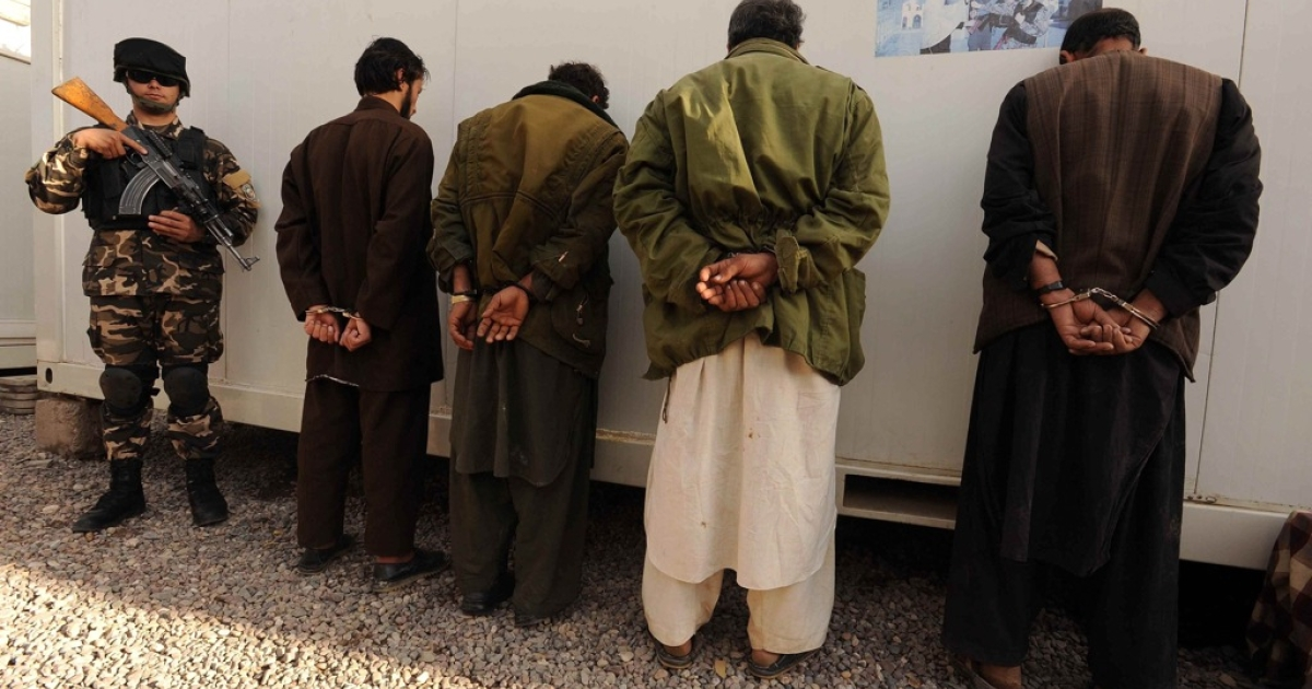 Captured Taliban fighters are presented to the media in Herat, Afghanistan on November 30, 2011. Herat security forces captured four insurgents from Herat, officials said in a statement.</p>