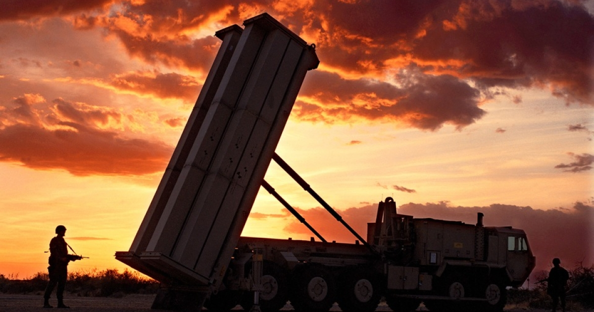 A THAAD anti-missile defense rocket.</p>