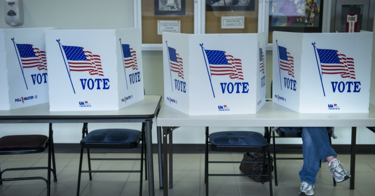 A citizen votes in the 2012 US presidential election at the Lancaster Board of Elections in Lancaster, Ohio.</p>