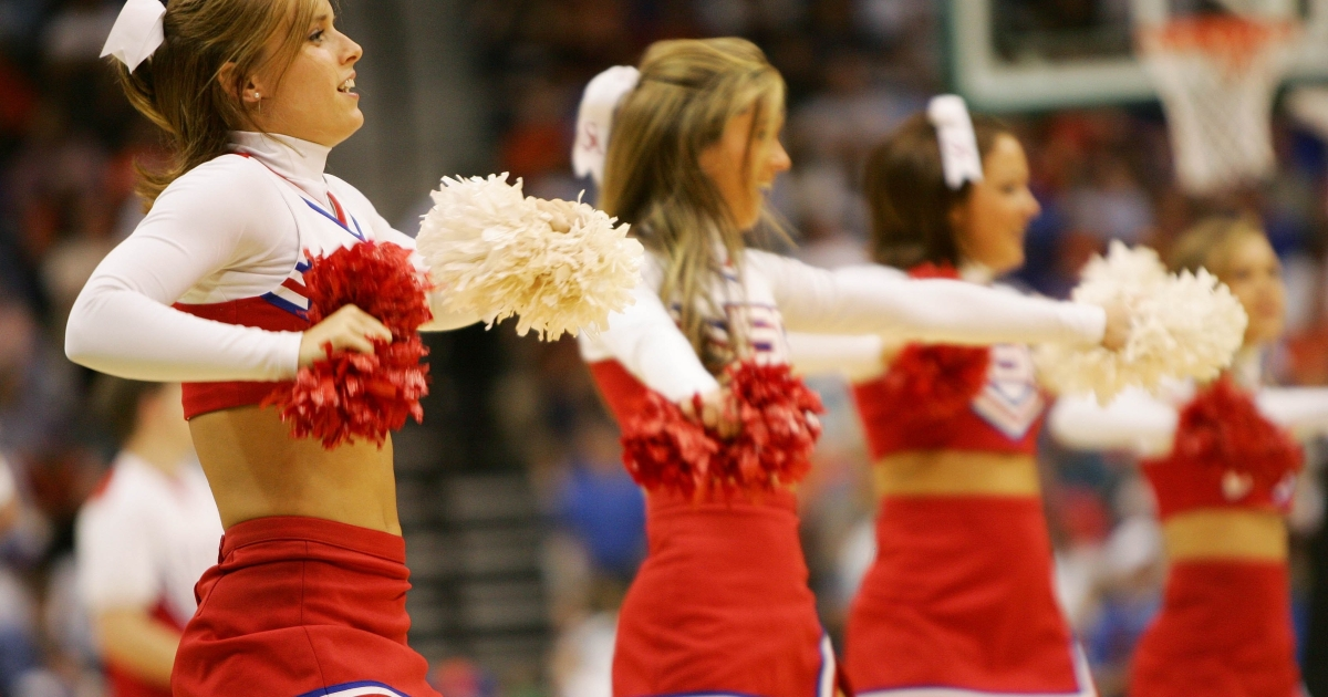 South Alabama Jaguars cheerleaders perform on March 16, 2006, during a game against the Florida Gators during round one of the NCAA National Championship at the Veterans Memorial Arena in Jacksonville, Florida.</p>