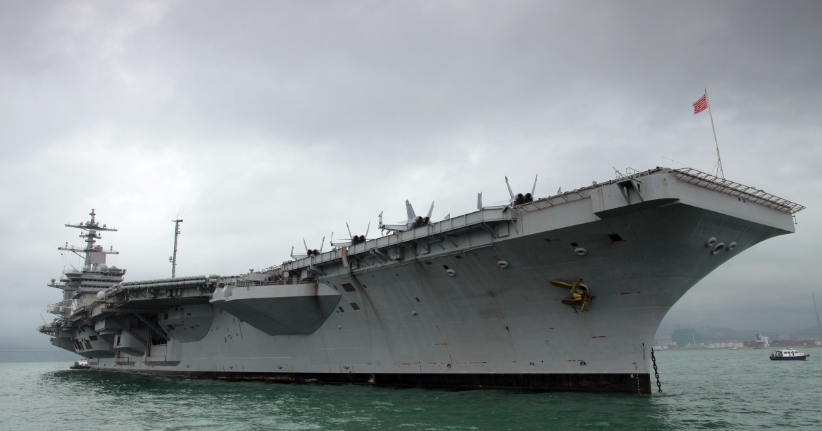The USS Carl Vinson aircraft carrier on a port call in Hong Kong. Defense Secretary Leon Panetta says most US warships will be moved to Asia by 2020, as part of America's new military strategy in the region.</p>