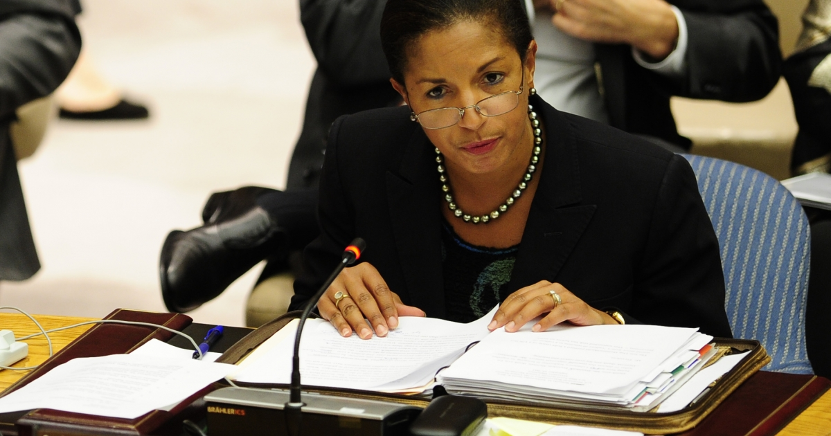 US Ambassador to the UN Susan Rice speaks during a Security Council meeting in September.</p>