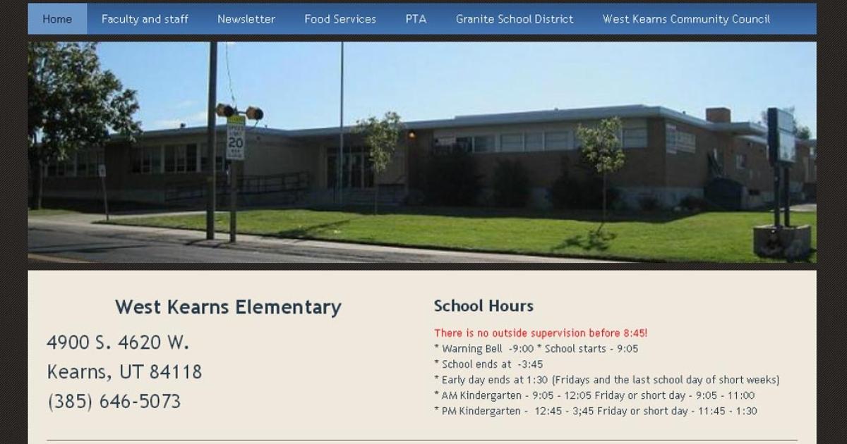 Screengrab of the website for West Kearn Elementary School in Utah.</p>