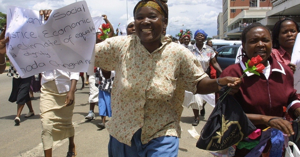 Zimbabwean women are asserting their right to be heard. Some Zimbabwean women are using the internet to blog about formerly taboo topics. Here members of Women of Zimbabwe Arise (Woza) demonstrate on the streets of Harare on Valentine's Day to urge better conditions for women.</p>