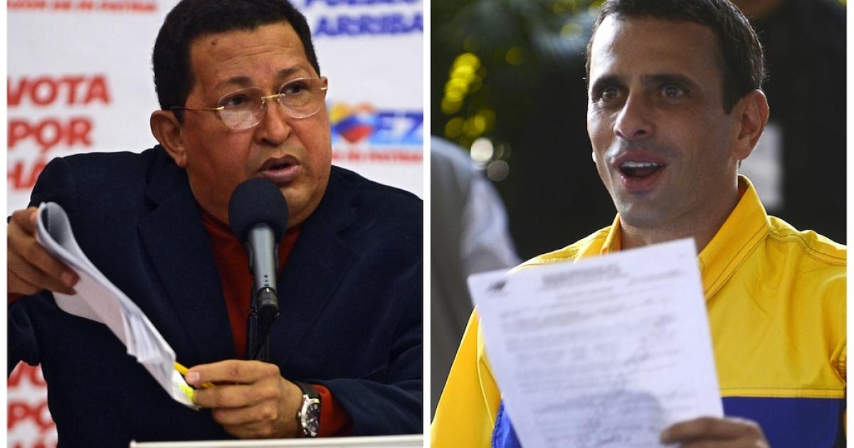 Hugo Chavez, left, and Henrique Capriles.</p>