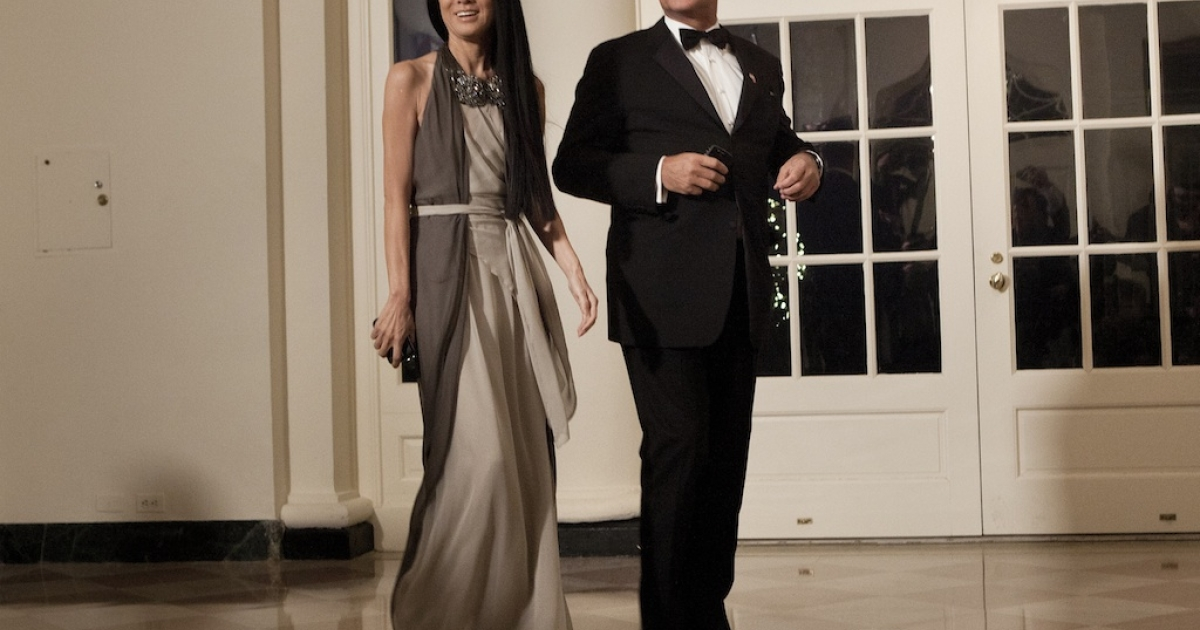 Vera Wang and Arthur Becker arrive at the White House for a state dinner on January 19, 2011 in Washington, DC.</p>