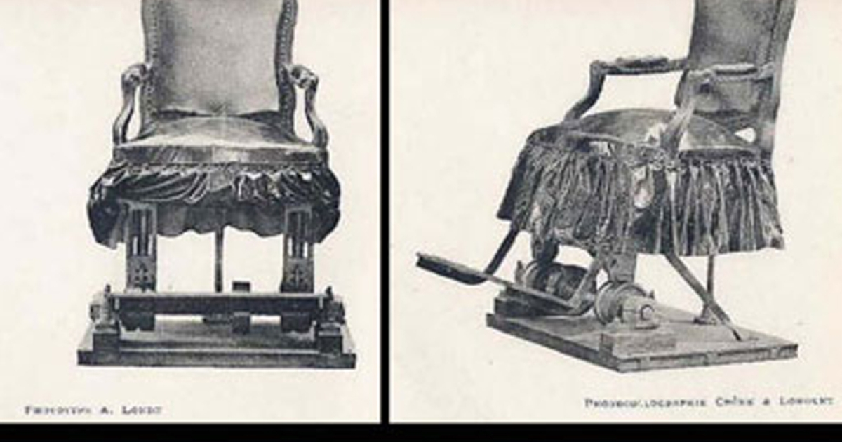 The vibration chair used by neurologist Charcot to treat the symptoms of Parkinson's disease sufferers in the 19th century.</p>