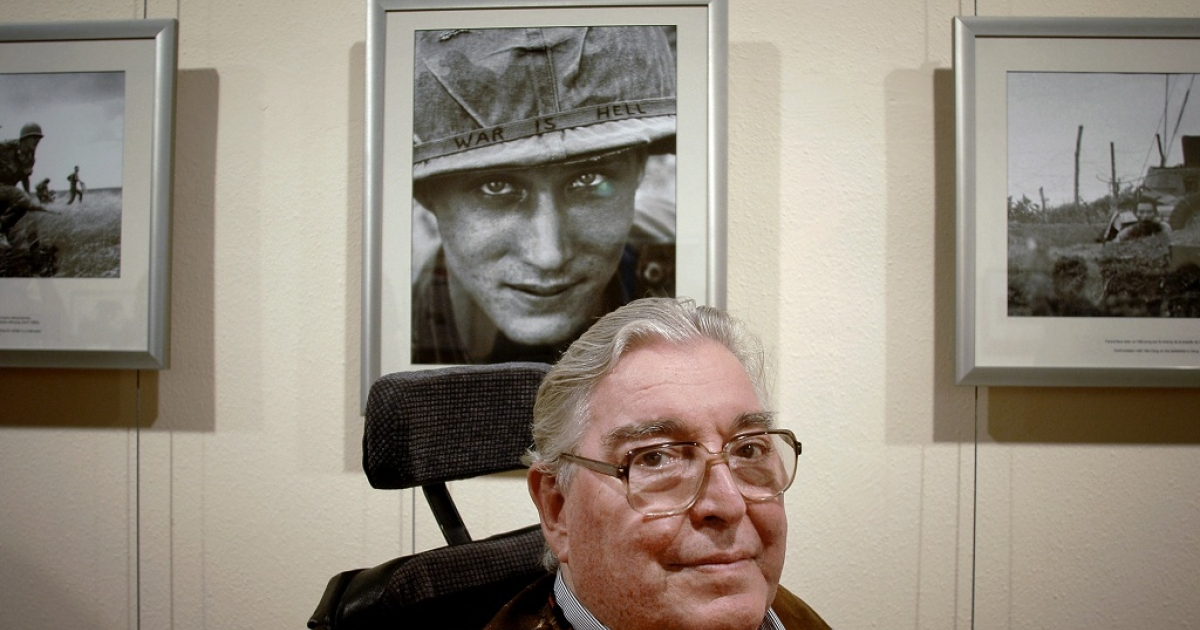 Legendary war photojournalist and two-time Pulitzer Prize-winner, Horst Faas, poses in front of his images at the International Festival of Photojournalism in Perpignan, France in Sept. 05, 2008. His daughter, Clare Faas, confirmed her father died on May 10, 2012 at the age of 79.</p>