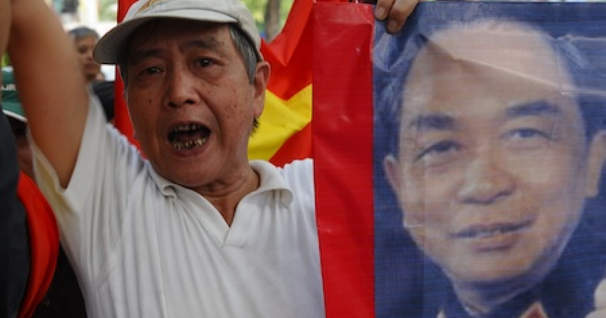 A Vietnamese protestor shouts anti-China slogans on a street close to the Chinese embassy in Hanoi on July 17, 2011. About 50 people, including some of the country's well known intellectuals, have staged anti-China protests over an escalating maritime dispute with China in the South China Sea. The rally was quickly dispersed by police after a dozen protestors were arrested. An unprecedented series of protests -- which are not common in authoritarian Vietnam -- have taken place peacefully in Hanoi.</p>