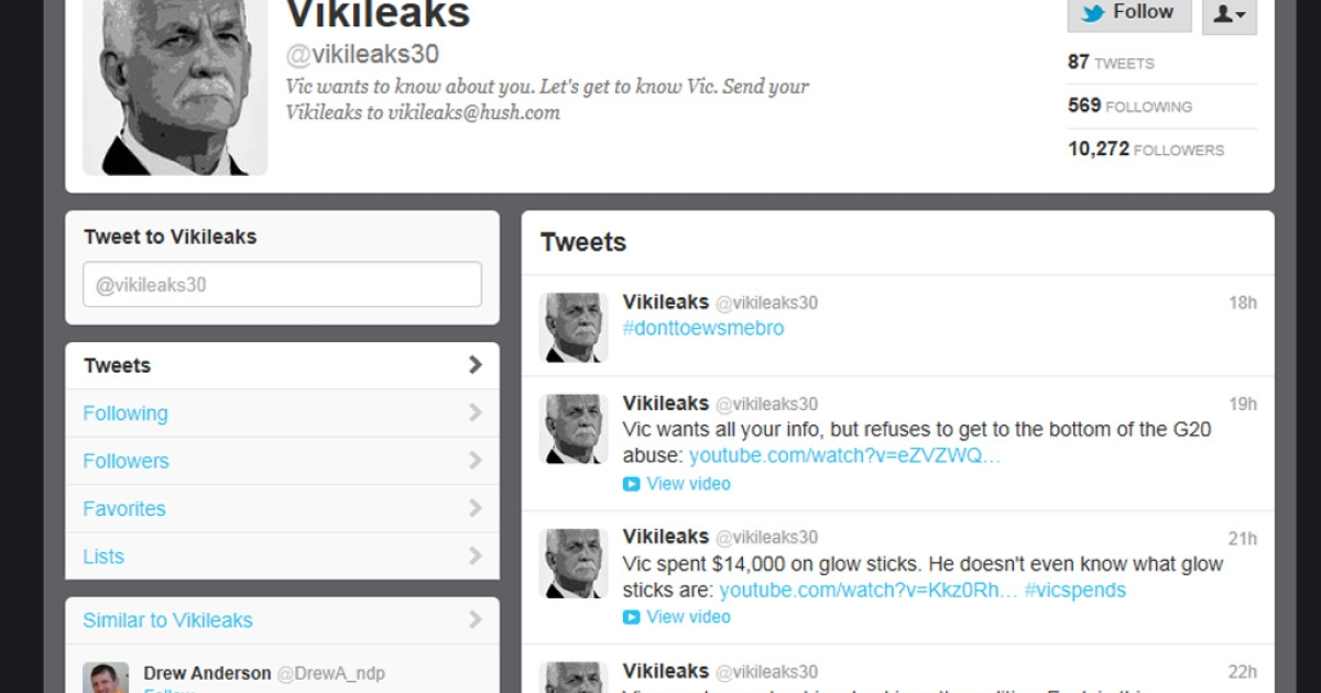 A screengrab of the anonymous @Vikileaks30 Twitter account that's publishing details of a Canadian politician's messy divorce.</p>