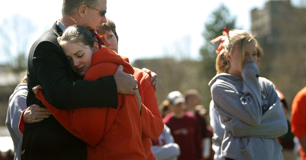 Virginia Tech students and their families pictured April 16, 2008 during a remembrance ceremony one year after the shooting rampage by Cho Seung-Hui that left 32 people dead.</p>