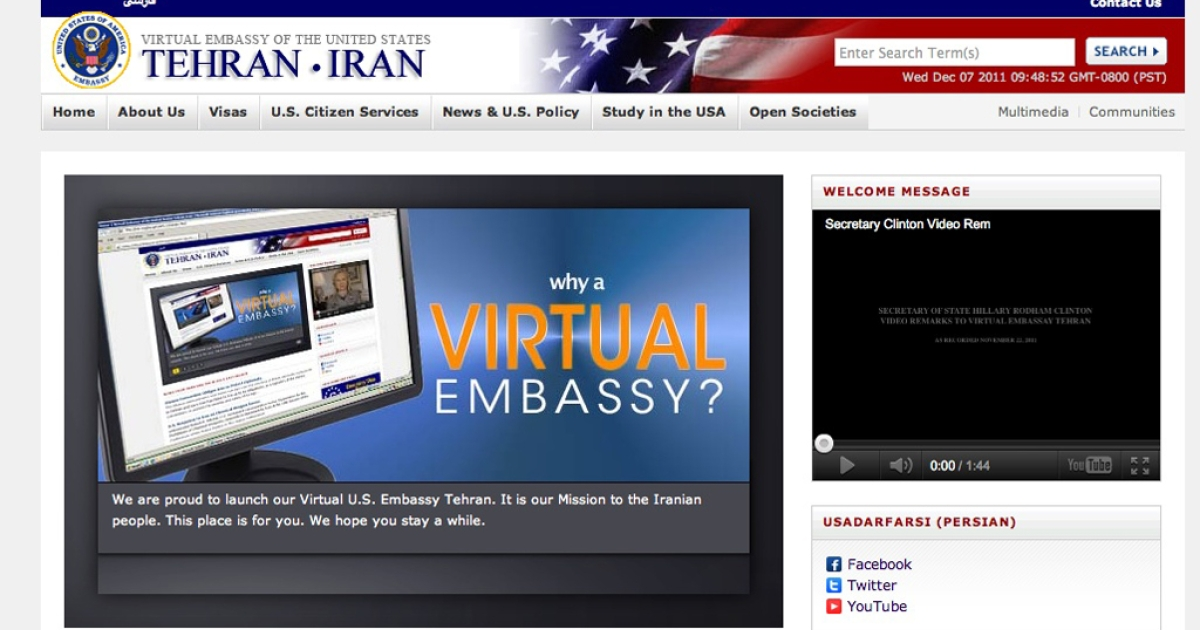 The US 'virtual embassy' website was blocked in Iran hours after it launched.</p>
