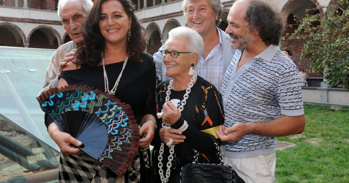 From left, Angela, Ottavio, Rosita, Vittorio and Luca Missoni attend the Missoni fashion show during Milan fashion week on September 25, 2011, in Italy.</p>
