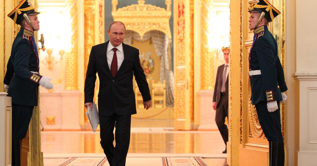 Russian President Vladimir Putin arrives to deliver his state of the nation address at the Kremlin in Moscow on Dec. 12, 2012. In the first annual address to the nation of his new Kremlin term, Putin was expected to stake out Russia's strategic priorities at a time of unprecedented challenge to his rule.</p>