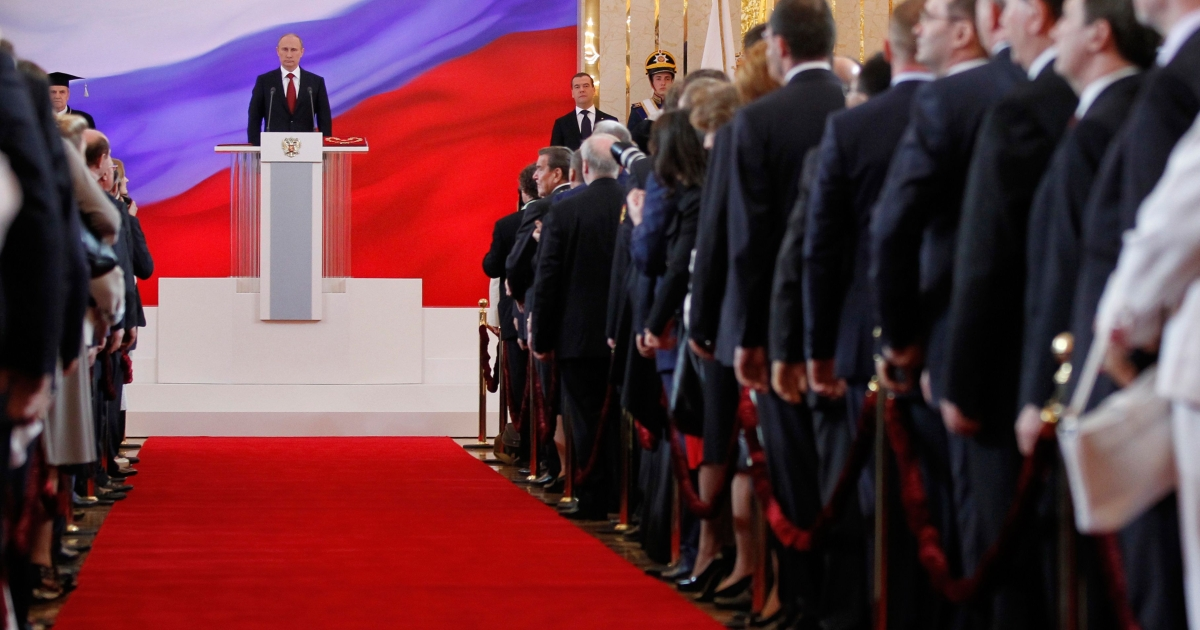 Russia's president-elect Vladimir Putin takes his oath of office in Moscow's Kremlin, on May 7, 2012.</p>