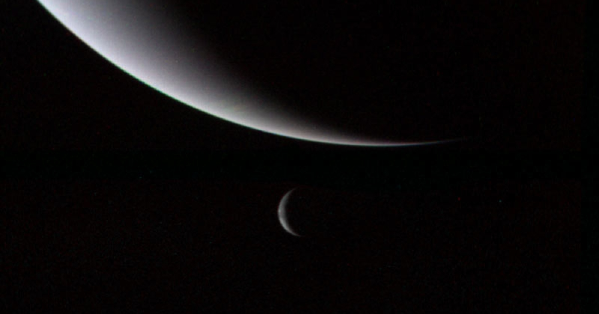 A photo of Neptune and its moon Triton as captured by the Voyager 2.</p>