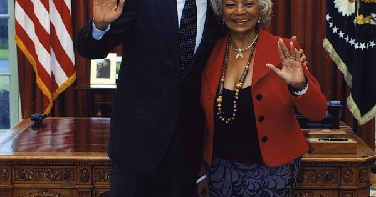 President Barack Obama and Nichelle Nichols in the Oval Office on Feb. 29, 2012.</p>