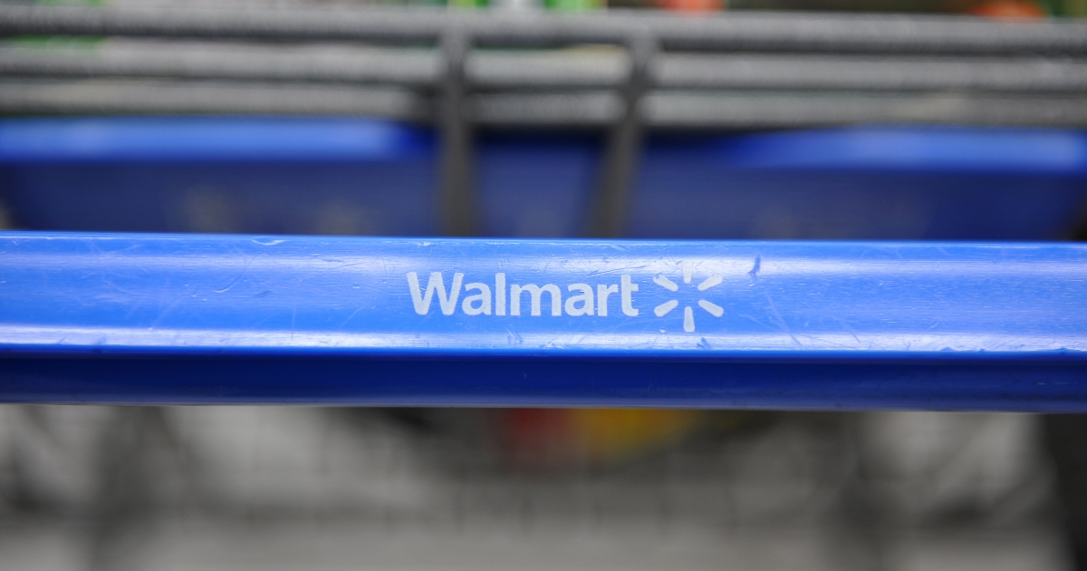 A shopping cart at a Wal-Mart store in Los Angeles in seen in November, 2009.</p>