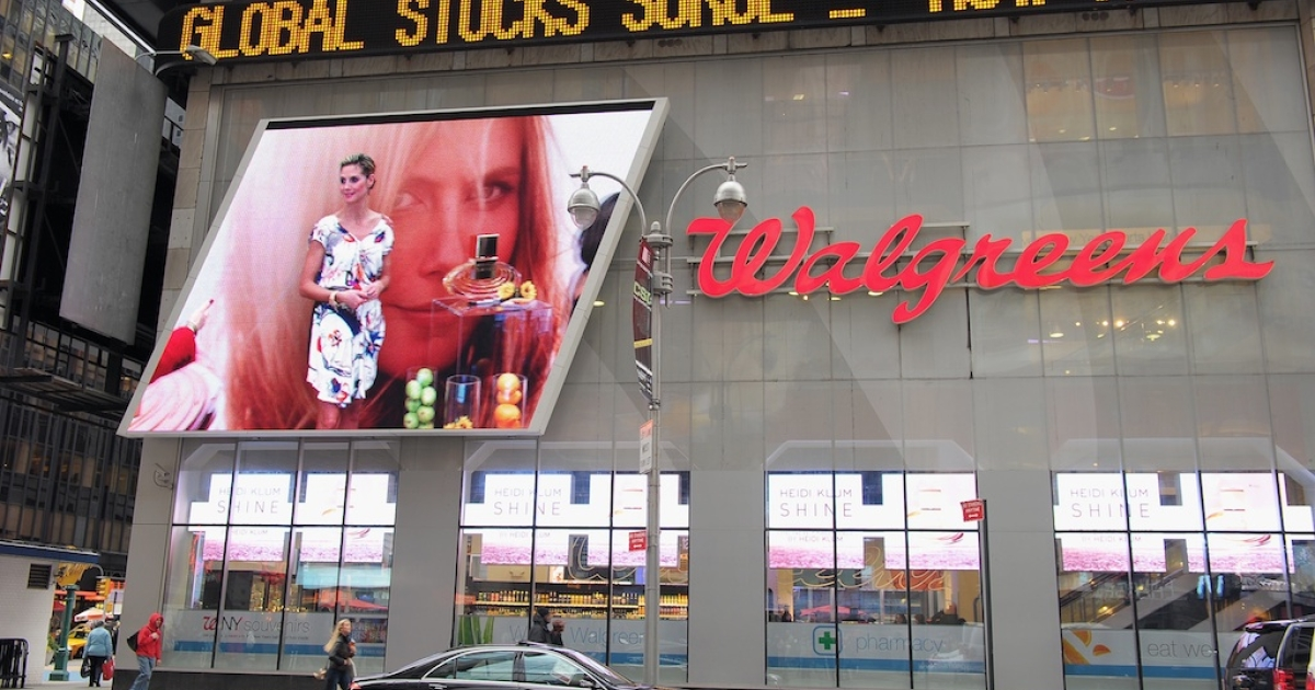A Walgreens store at Times Square in New York City.</p>