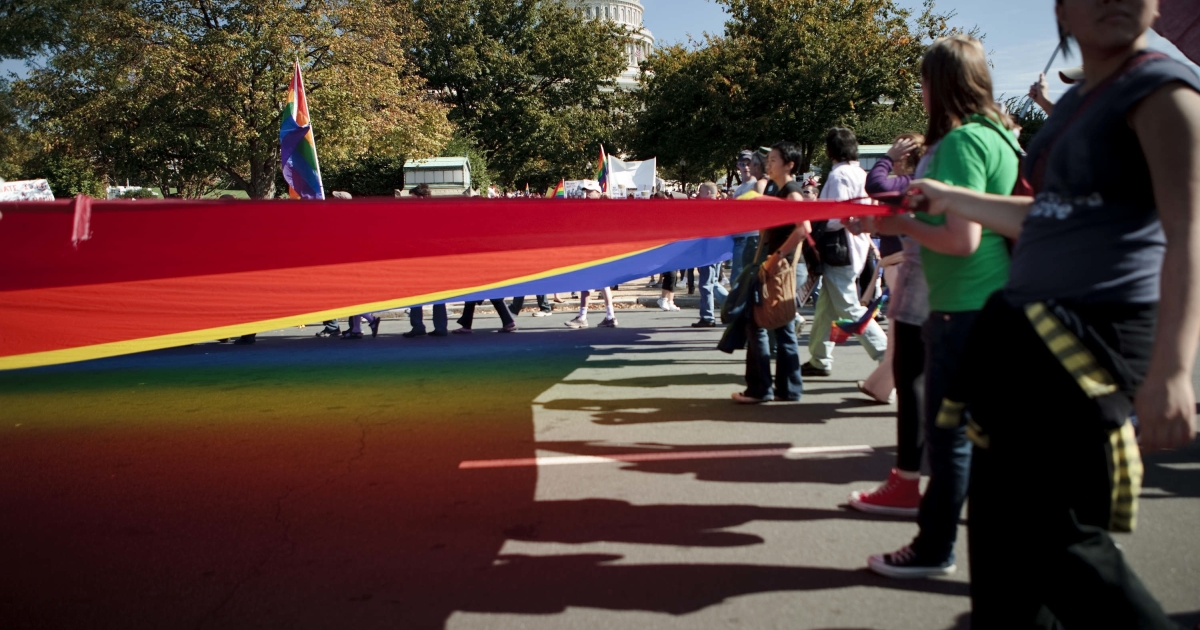 Gay rights supporters march in Washington, DC, on Oct. 11, 2009.</p>