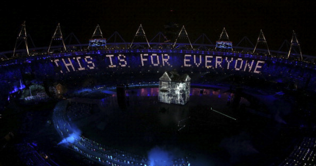 A general view is displayed while artists perform during the Opening Ceremony of the London 2012 Olympic Games at the Olympic Stadium on July 27, 2012 in London, England.  (Photo by Ezra Shaw/Getty Images)</p>