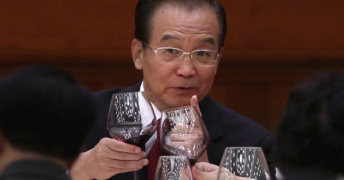 Chinese Prime Minister Wen Jiabao attends the banquet marking the 63th anniversary of the founding of the People's Republic of China on September 29, 2012 at the Great Hall of the People in Beijing, China.</p>