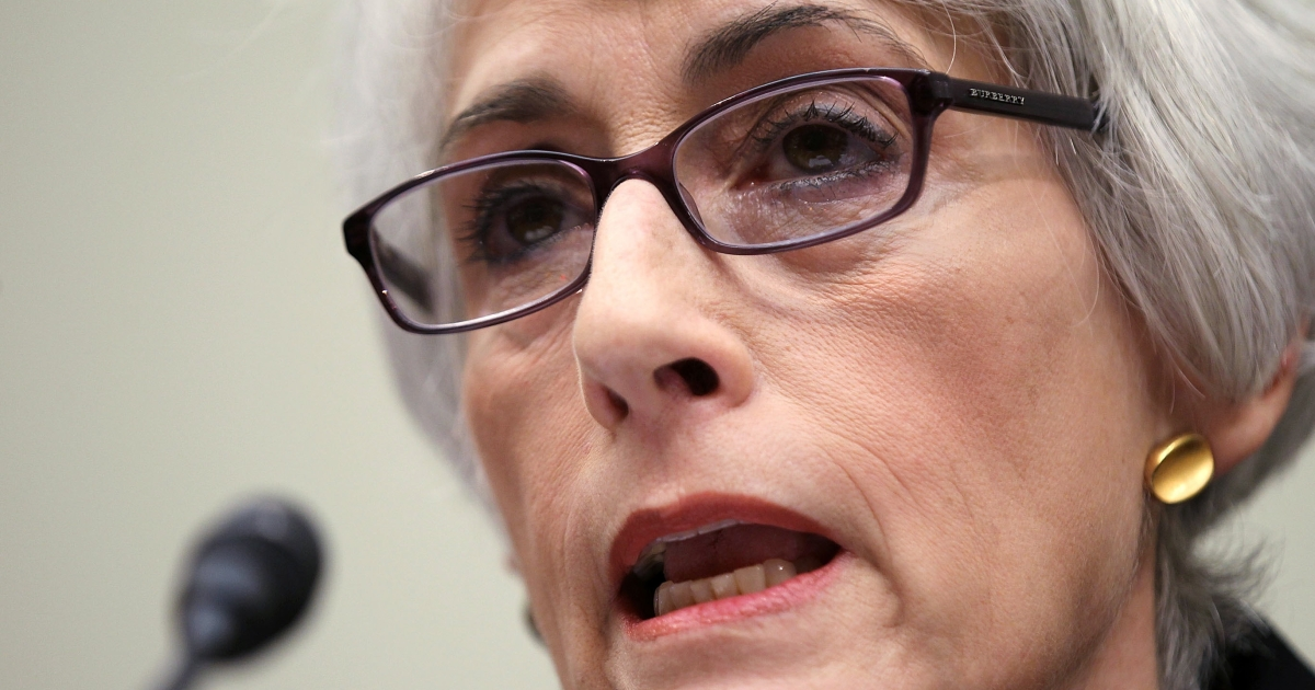 U.S. Undersecretary of State for Political Affairs Wendy Sherman speaks on October 14, 2011 on Capitol Hill in Washington, DC. This week, she traveled to Nigeria, where she pledged American support for Africa's largest oil exporter in its fight against Boko Haram, a militant group based in the north.</p>