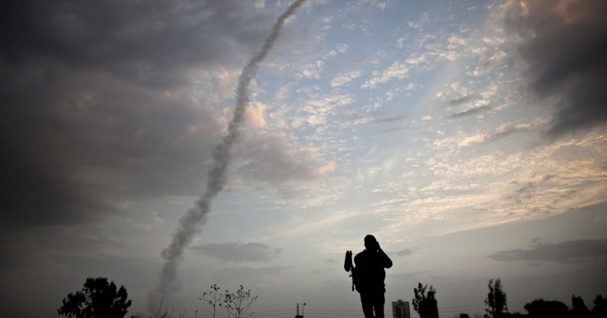 An Israeli missile from the Iron Dome defence missile system is launched to intercept and destroy an incoming rocket from Gaza on Nov. 17.</p>