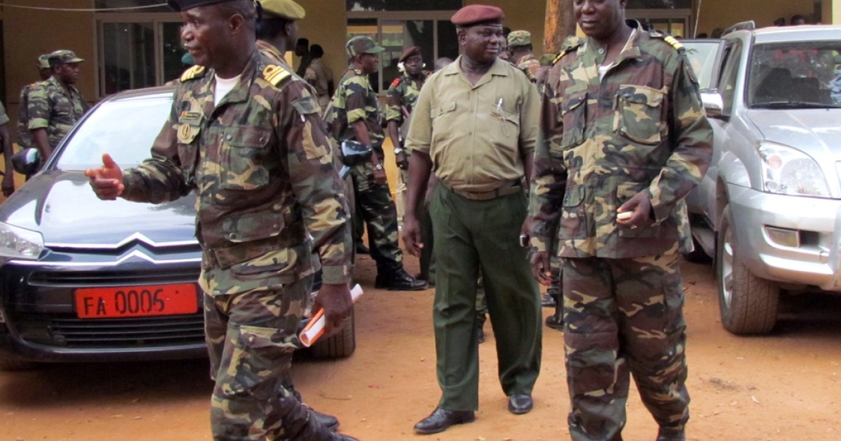 Military soldiers of Guinea-Bissau on April 13, 2012 after a meeting in the capital, Bissau. Opposition parties in Guinea-Bissau were to meet on April 14, 2012 to form out a unity government after a military coup derailed presidential elections.</p>