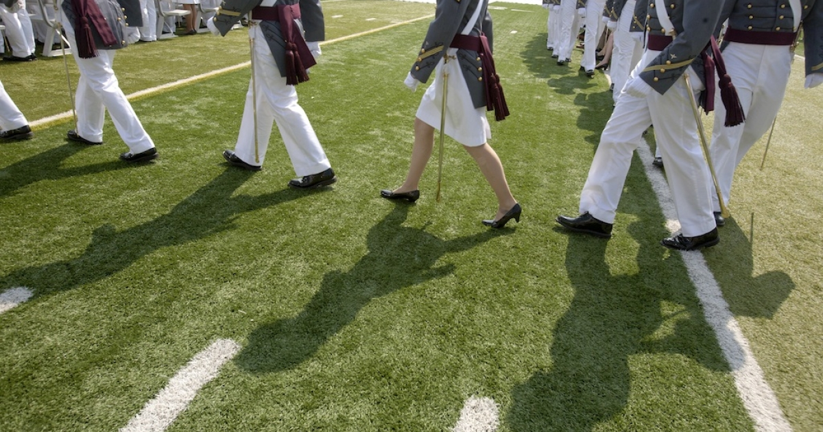 Cadets of The United States Military Academy walk to their seats for a graduation and commissioning ceremony May 26, 2012 in West Point, New York. US Vice President Joe Biden addressed the approximately 1,000 members of the Class of 2012 who received Bachelor of Science degrees and be commissioned as second lieutenants in the US Army.</p>