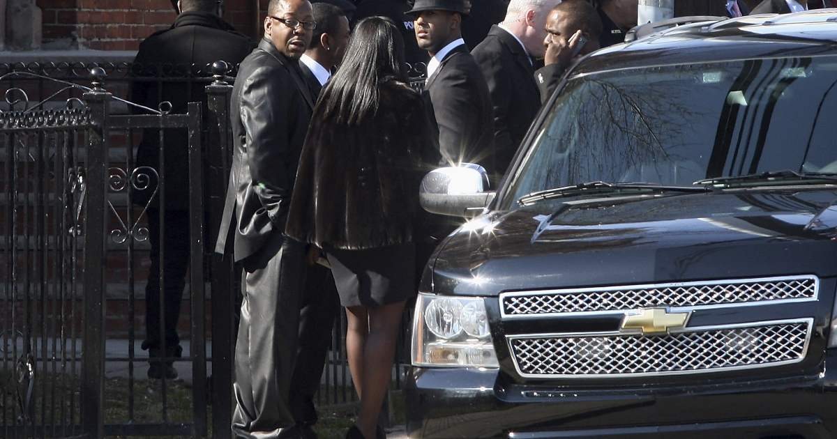 Bobby Brown outside of the funeral service for Whitney Houston on February 18, 2012 in Newark, New Jersey.</p>
