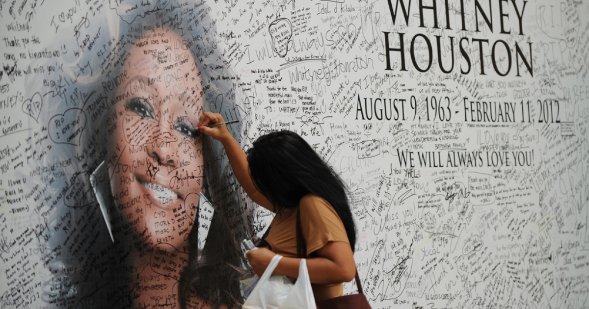 A Fillipino fan of US pop diva, Whitney Houston, signs a tribute mural displaying a portrait of her idol at a mall in Manila on February 17, 2012. Houston, who died on February 11 aged 48 in a Beverly Hills hotel, will be laid to rest on February 18, after a private funeral service at the New Jersey Baptist church where she grew up singing in a gospel choir.   AFP PHOTO / TED ALJIBE (Photo credit should read TED ALJIBE/AFP/Getty Images)</p>