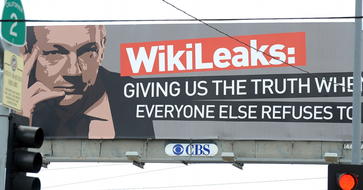 A billboard advertising support for WikiLeaks' founder Julian Assange on Santa Monica Boulevard in Hollywood on April 7, 2011.</p>