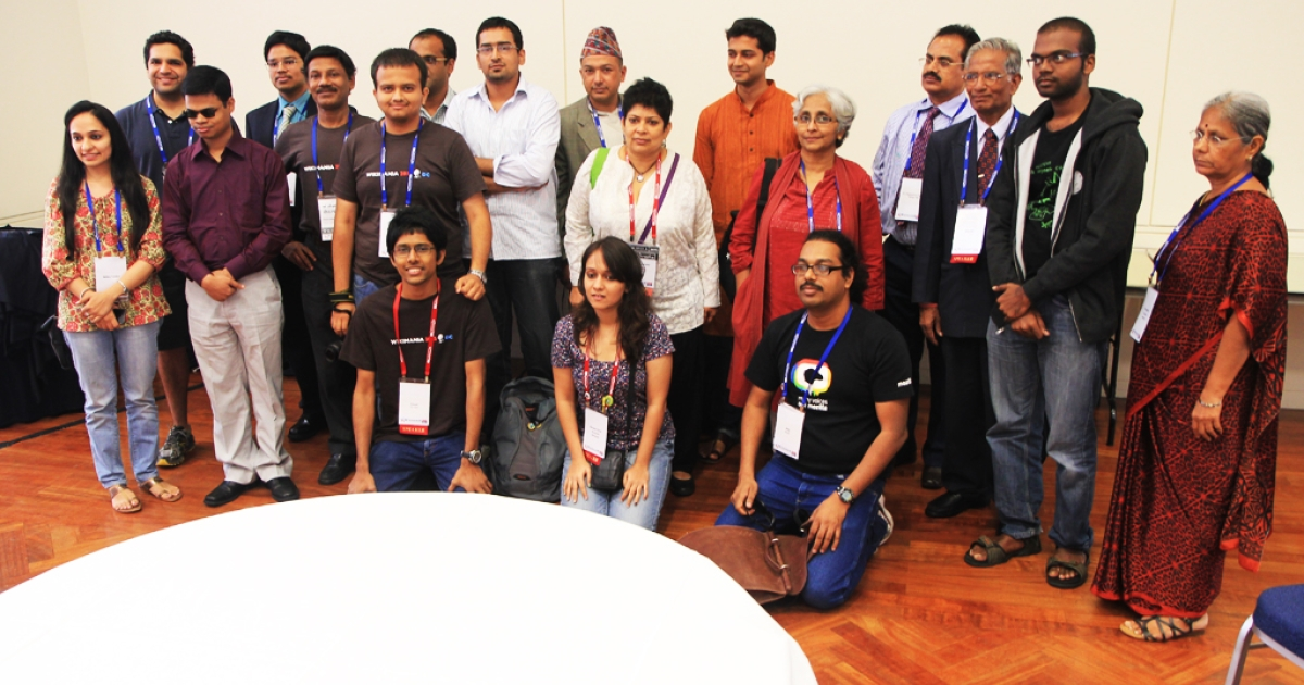 Wikipedians from India gather at the Wikimedia 2012 conference in Washington DC. India has had a Wikimedia chapter since January 2011.</p>