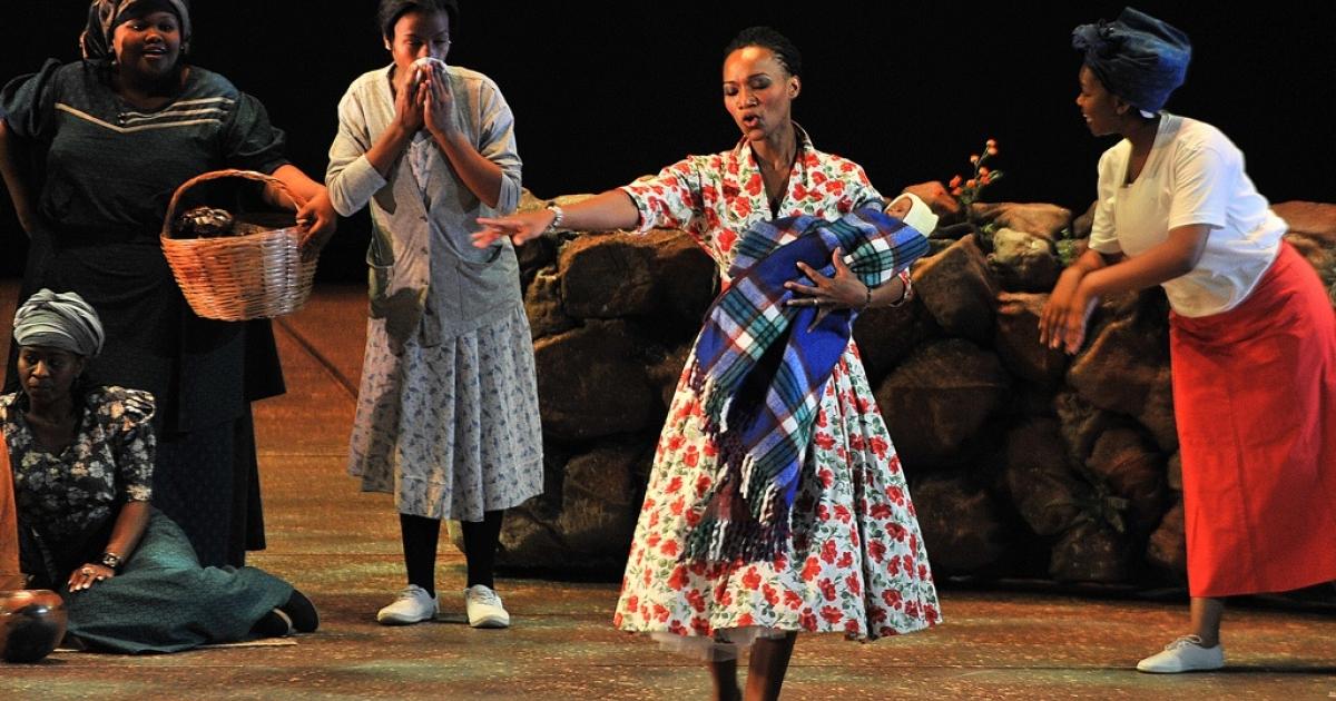 Tsakane Maswanganyi, center, sings the lead role of Winnie Madikizela-Mandela in