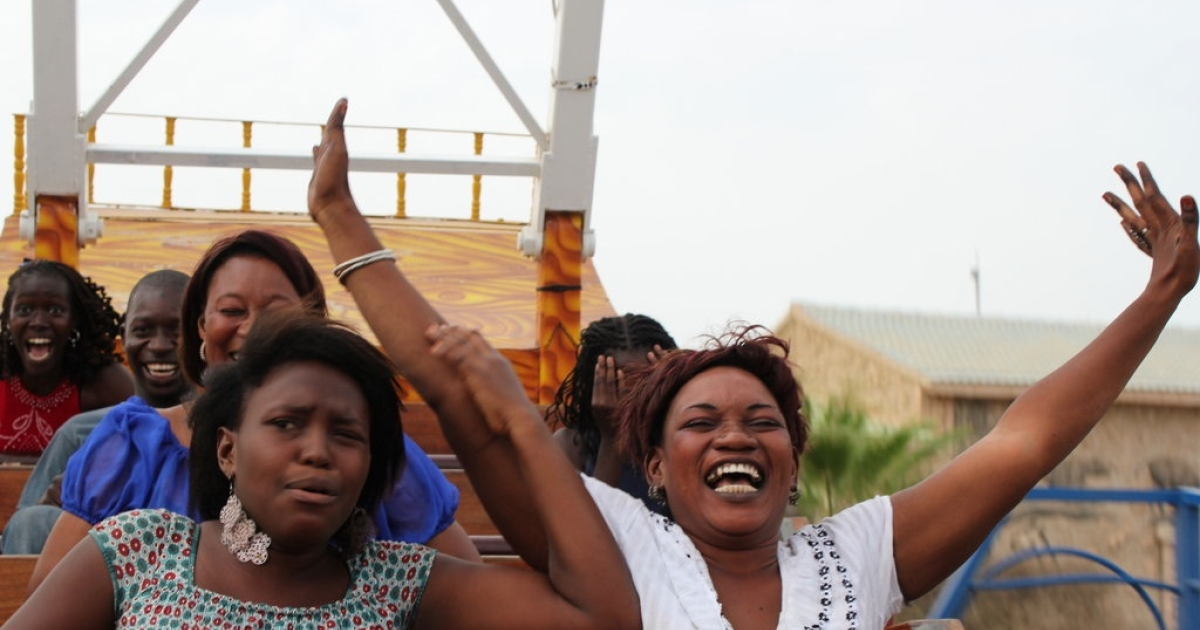 This rollercoaster at Senegal's Magic Land shows half the riders screaming joyfully, while the other half appears to be clenching on in fear.</p>